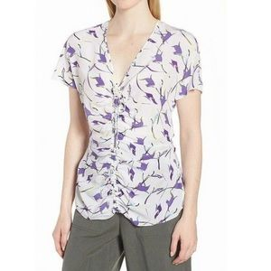 LEWIT White Floral Silk Blouse L Ruched Chic NWT